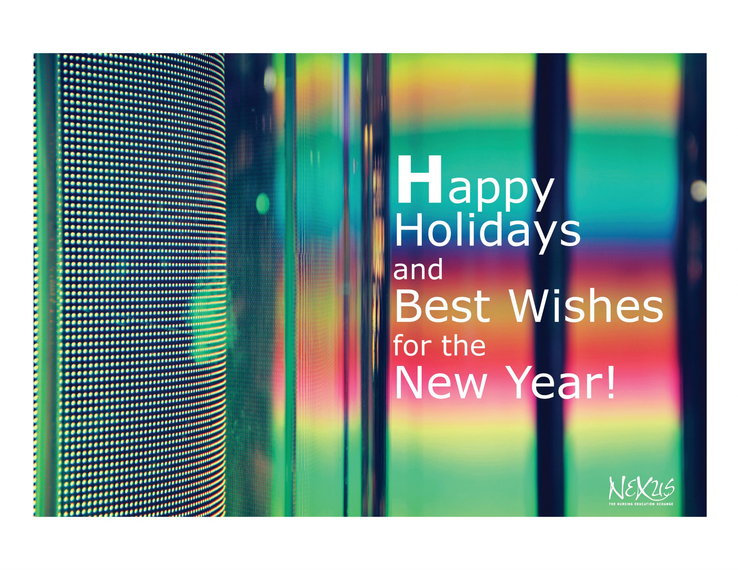 Abstract colorful image with text overlay of Happy Holiday and Best Wishes for the New Year!