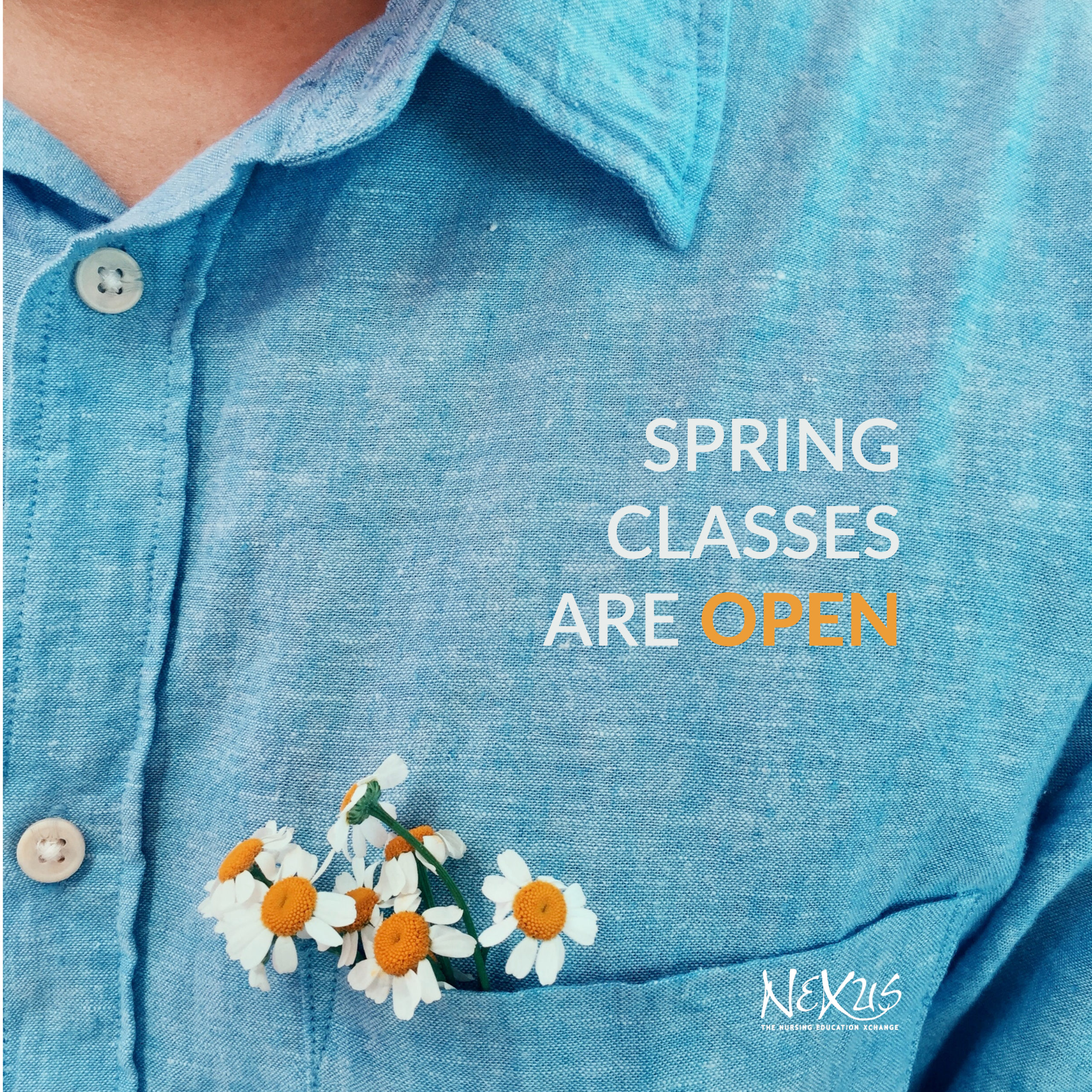 Closeup of someone wearing a button up blue linen shirt with handpicked daisies in the left pocket